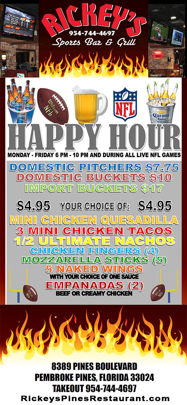 NFL – Happy Hour – Pembroke Pines – Rickey's Sports Bar & Grill
