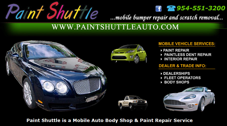 Paint Shuttle is a Mobile Auto Body Shop & Paint Repair Service in Broward and Palm Beach Counties