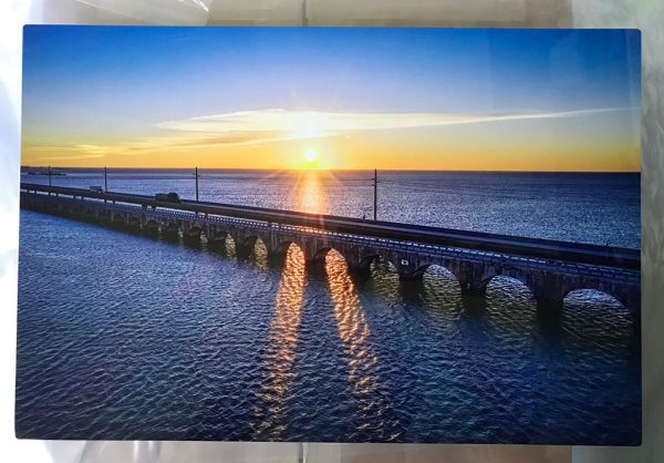 The Seven Mile Bridge at sunrise - A beautiful 12 X 18 metal print with wire and metal plate hanging options - $149.80 - includes shipping
